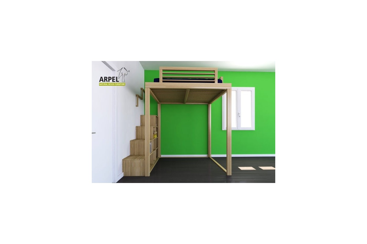 hochbett und treppe ku be. Black Bedroom Furniture Sets. Home Design Ideas