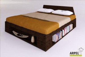 Zen plus bed with lateral and frontal bookcase modules