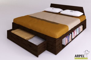 Zen plus bed with frontal drawer
