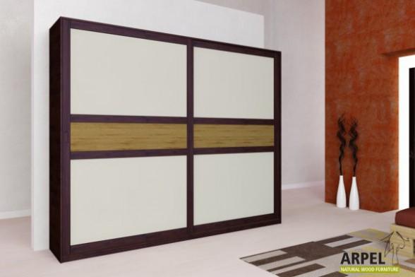 Kleiderschrank schiebetüren holz  Schrank Feng, 270 cm breit, Schiebetüren mit Holzeinsätzen