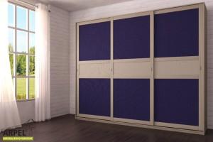 Schrank Feng 300x250 cm mit Zentraleinsätzen aus Stoff