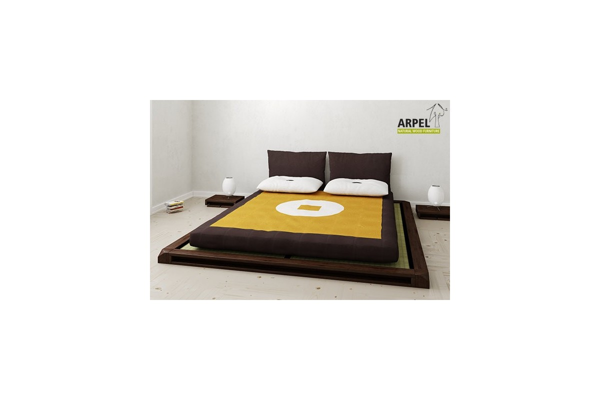 Complete Japanese bed with tatami and cotton-latex futon - Japanischwohnen - Arpel naturholzmoebel