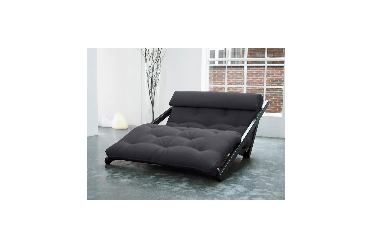 Chaise longue bed figo in scandinavian pinewood with for Bed chaise longue