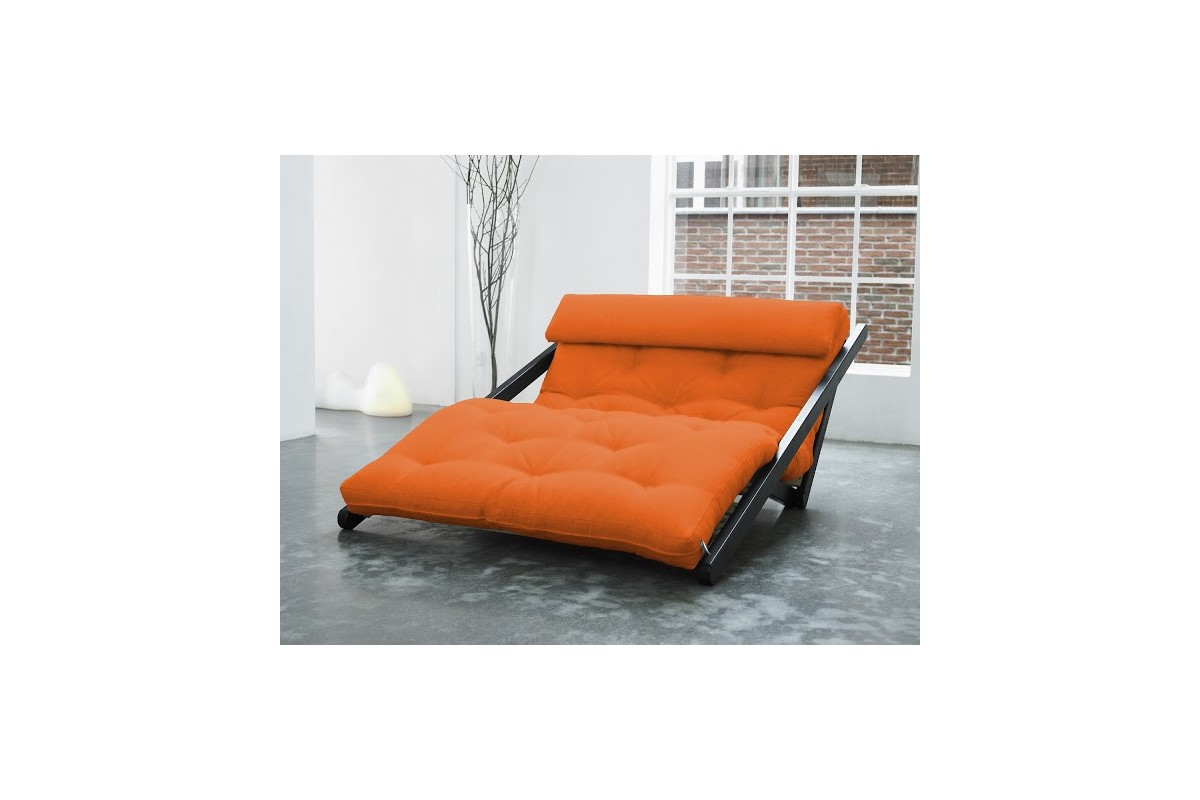 Chaise longue bed figo in scandinavian pinewood with japanese futon - Chaise longue sofa bed ...