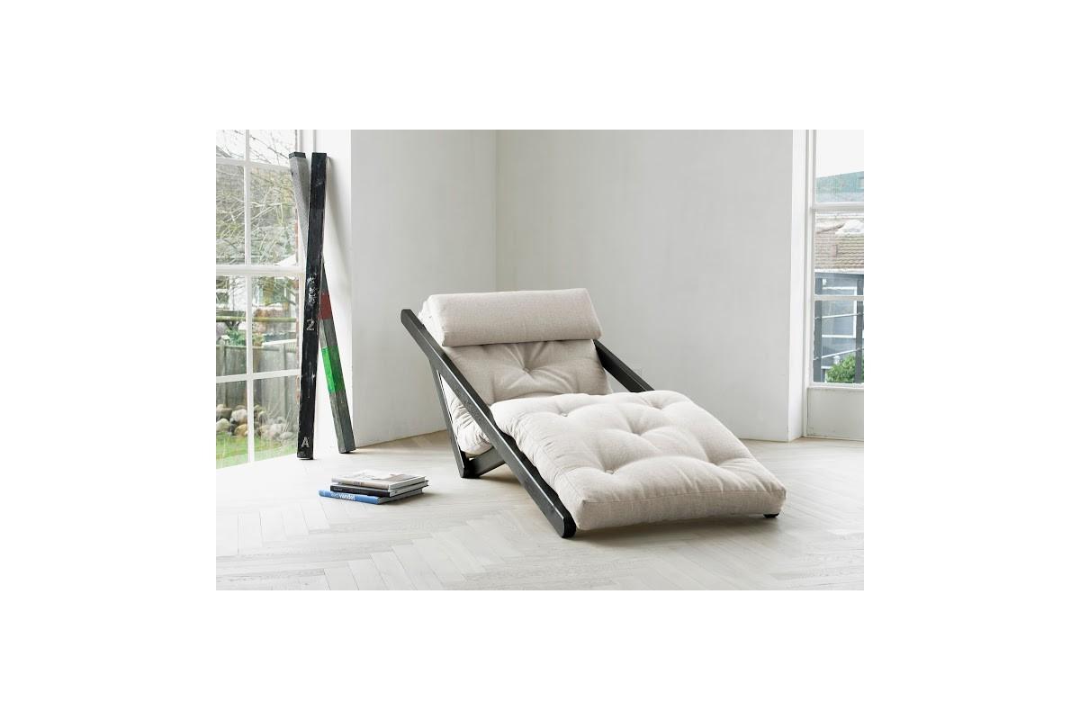 Chaiselongue-Bett aus skandinavischer Kiefer mit japanischem Futon