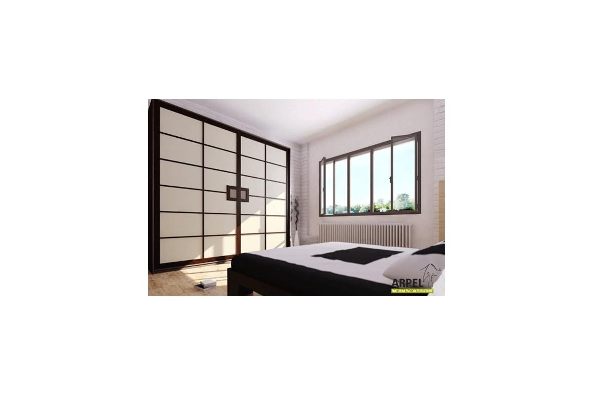 schrank shoji schiebet ren mit stoff bespannung 250 cm breit. Black Bedroom Furniture Sets. Home Design Ideas