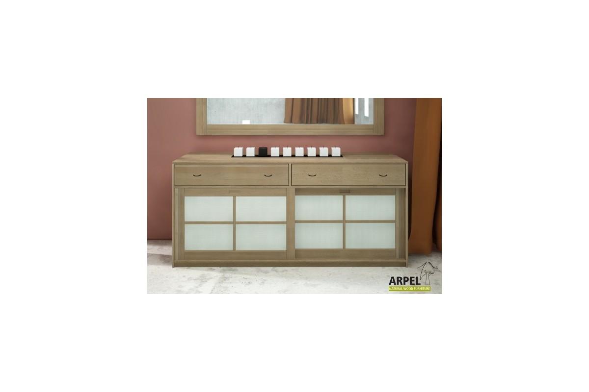 sideboard shoji mit 2 schubladen und reispapier schiebet ren. Black Bedroom Furniture Sets. Home Design Ideas