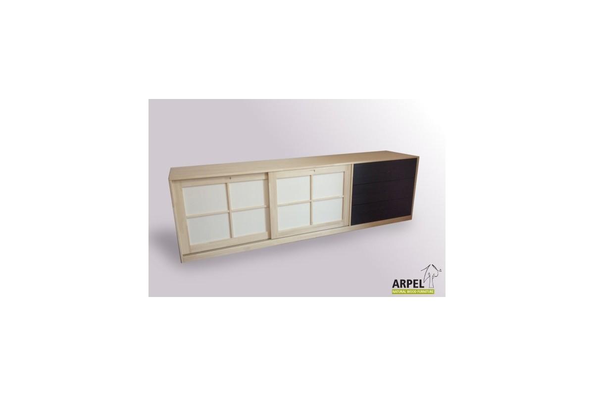 sideboard shoji mit 3 schubladen und stoffbespannten. Black Bedroom Furniture Sets. Home Design Ideas