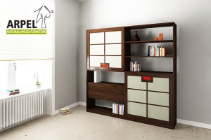 Quadro bookshelf with fabric