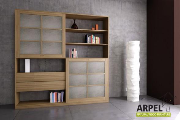 b cherregal quadro mit 2 reispapier japanischen schiebet ren. Black Bedroom Furniture Sets. Home Design Ideas