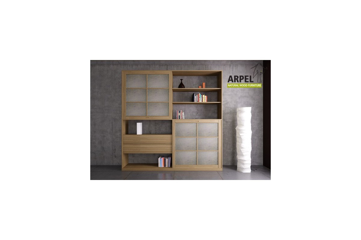 b cherregal quadro mit 2 reispapier japanischen schiebet ren. Black Bedroom Furniture Sets. Home Design Ideas