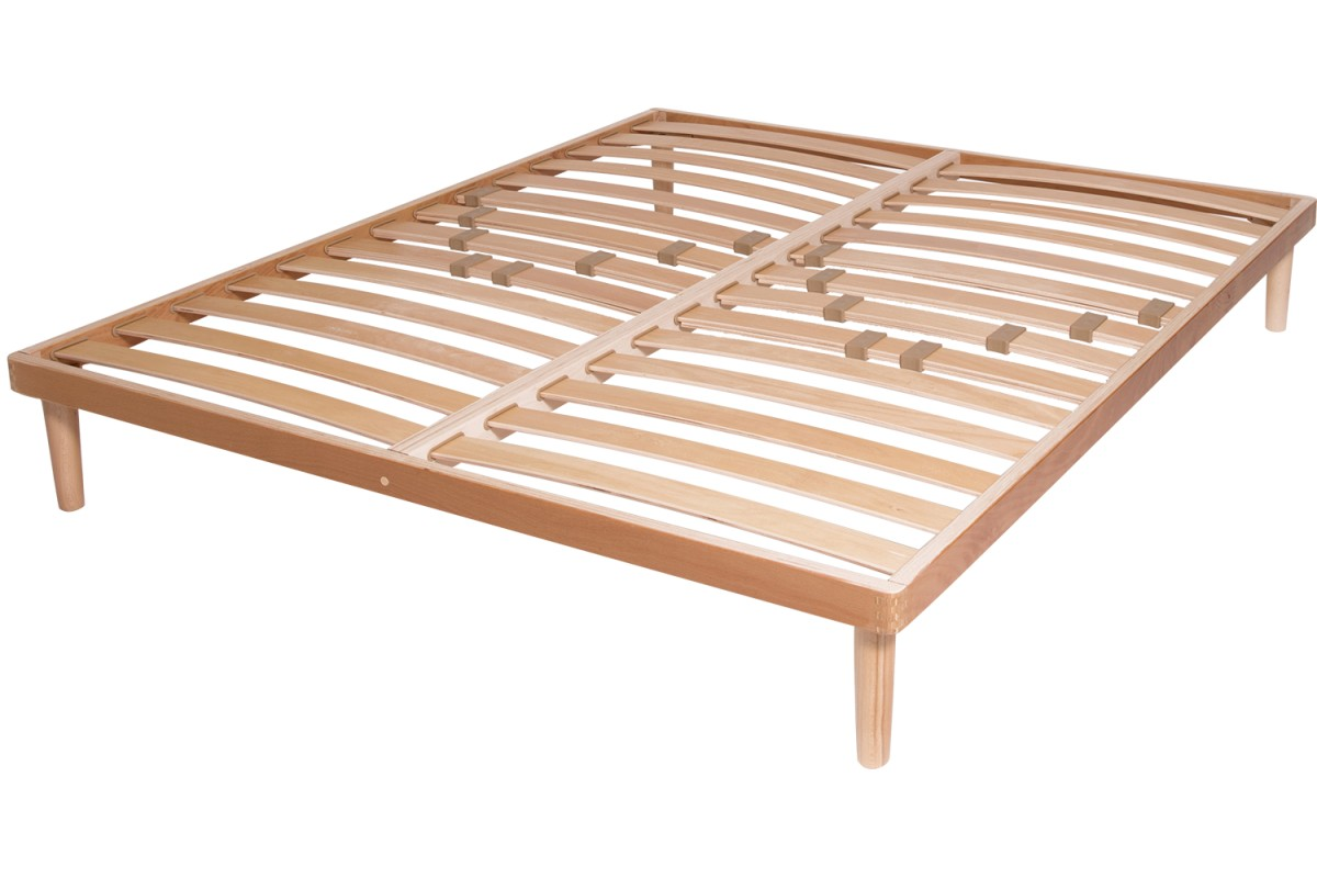 Double Row Slatted Bed Base Bio In Solid Beech Wood With Sprung Slats