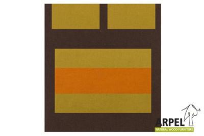 Quilt cover: brown 380sp – pistachio 405cs – orange 2767sp / bottom sheet: brown 380sp