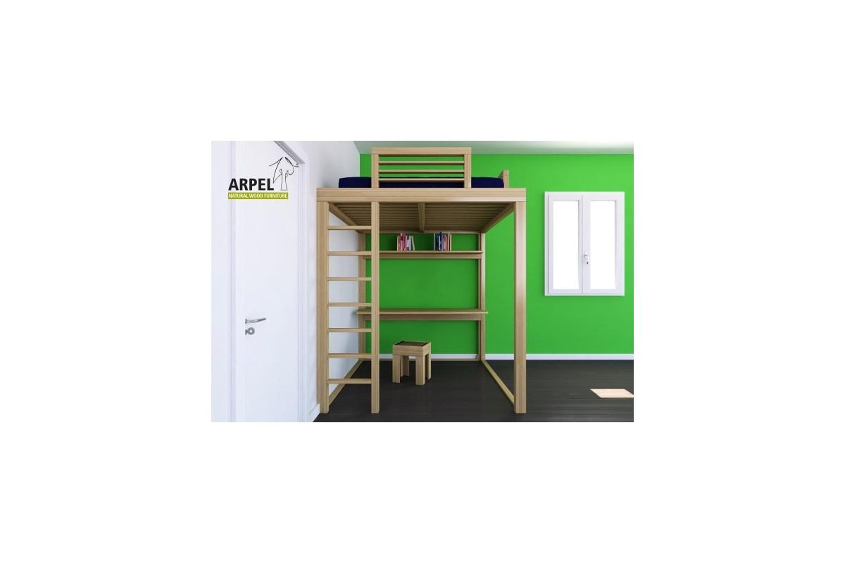 Letto ku be con scala a pioli vendita mobili giapponesi arpel arredamenti naturali in legno - Scala letto soppalco ...