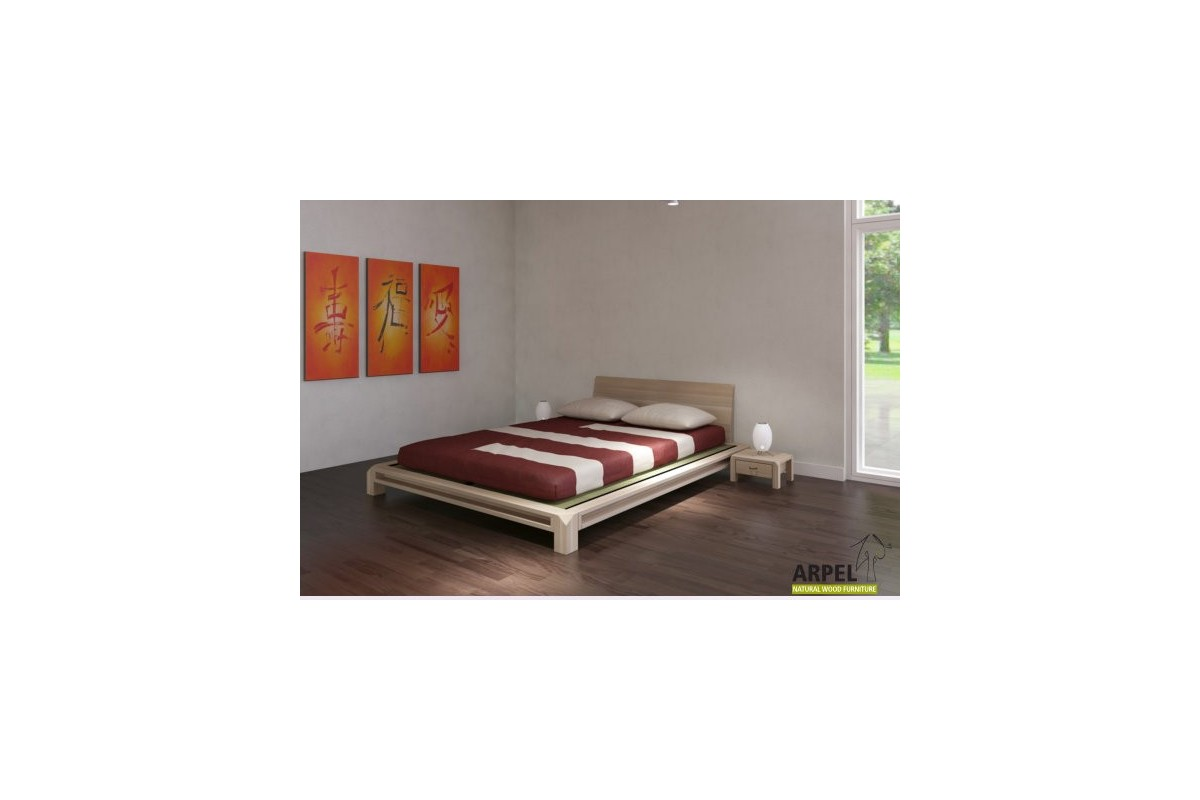 Japanese aiko bed with tatami and a frame in ecological for Camere giapponesi