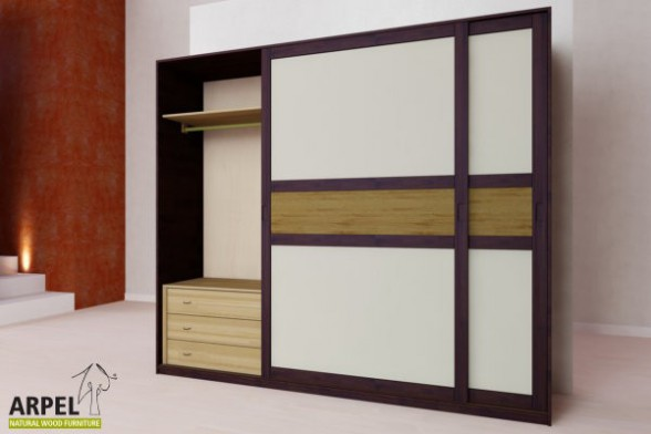 schrank feng aus lamellierter buche 250 cm mit schiebet ren. Black Bedroom Furniture Sets. Home Design Ideas