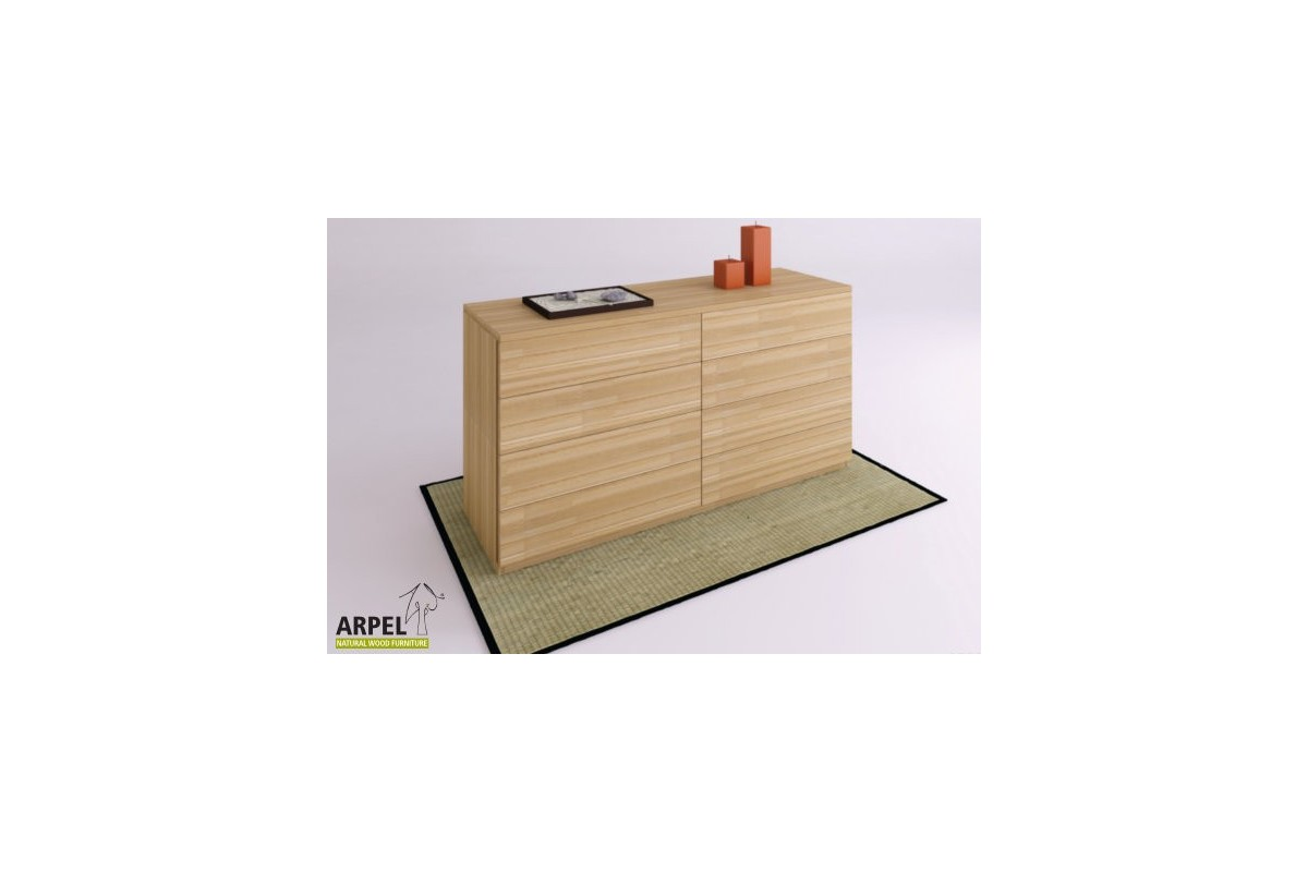 Cassettiera zen grande in legno faggio lamellare di for Cassettiere moderne