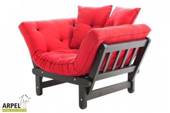 Poltrona chaise longue sun in legno di pino con futon - Divani letto chaise longue ...