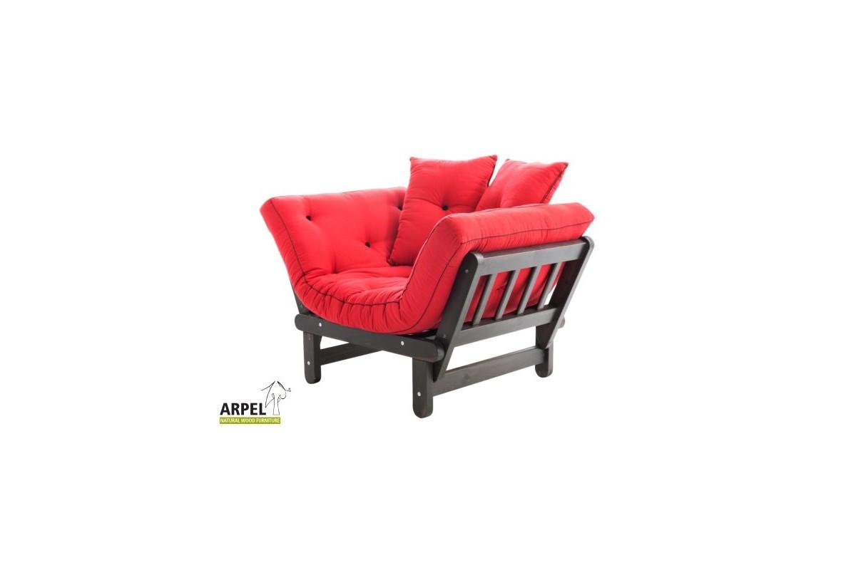 Poltrona chaise longue sun in legno di pino con futon for Poltrona chaise longue