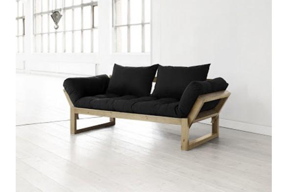 Divano letto edge con struttura in pino scandinavo e materasso futon