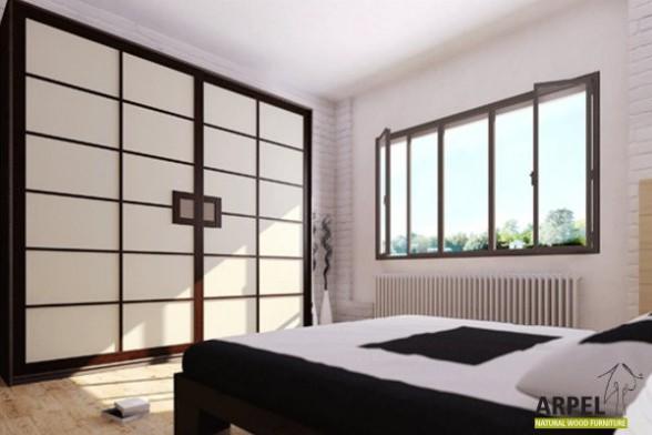 Beautiful Japanese Shoji Wardrobe With Fabric Sliding Doors