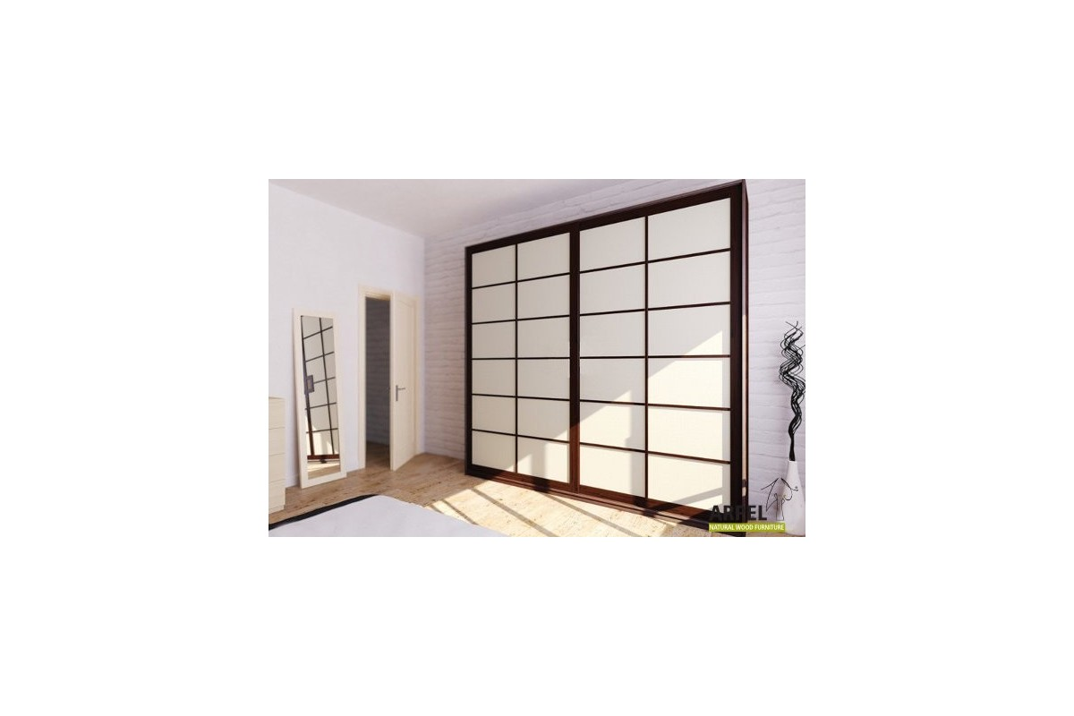 ... Shoji wardrobe 200x250x60cm with fabric sliding doors ... & Beautiful Japanese Shoji Wardrobe with Fabric Sliding Doors.