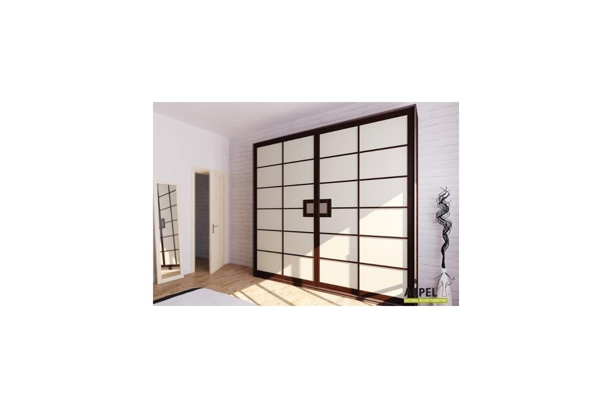 schrank shoji mit stoffbespannten schiebet ren 200 cm breit. Black Bedroom Furniture Sets. Home Design Ideas