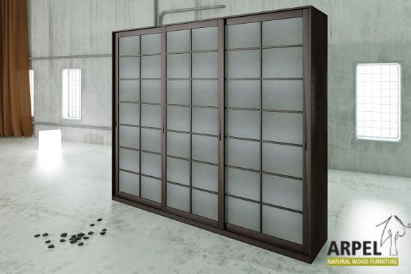 schrank shoji schiebet ren mit reispapier bespannung 300 cm breit. Black Bedroom Furniture Sets. Home Design Ideas