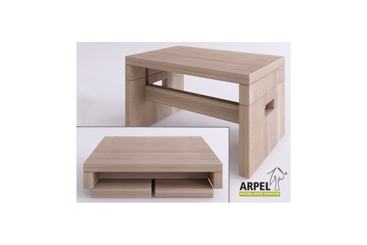 Japanese aiko breakfast bedside table in solid beechwood for Japanese bedside table