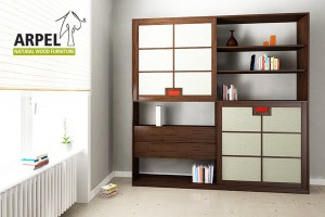 Quadro bookshelf with fabric