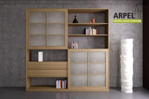b cherregal quadro plus mit 2 reispapier schiebet ren. Black Bedroom Furniture Sets. Home Design Ideas