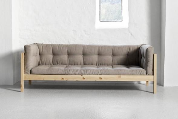 Divano fusion a 3 posti in pino scandinavo con futon - Divano letto a tre posti ...
