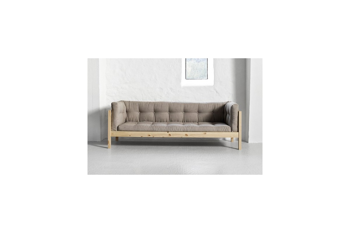 Divano fusion a 3 posti in pino scandinavo con futon giapponese - Divano tre posti ...