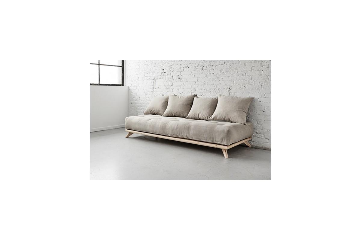 Divano letto senza in legno di pino e futon - Divano letto doghe in legno ...