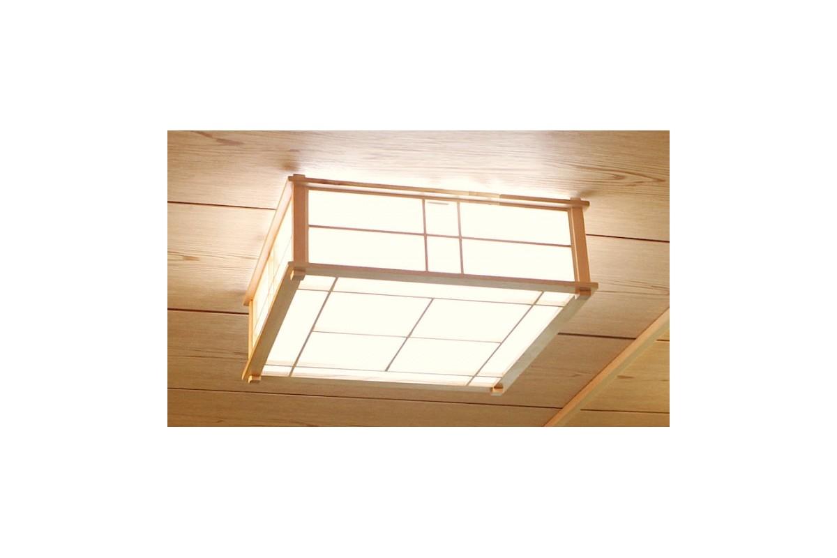 Lampada da soffitto hikari in legno e carta di riso naturale for Tende carta di riso