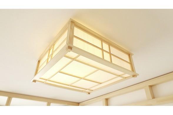 Lampada da soffitto hikari in legno e carta di riso naturale