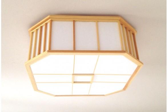 Lampada da soffitto akaru in legno e carta di riso naturale