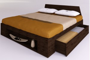 Zen plus bed with lateral drawers