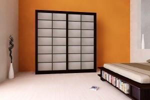200 cm wide Shoji Wardrobe with Rice Paper Sliding Doors
