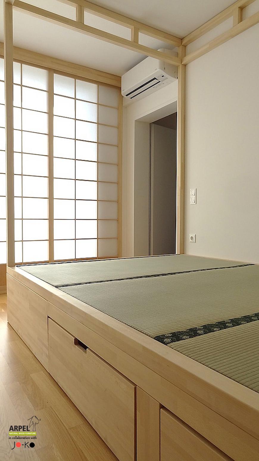 Camera Da Letto Giapponese esempio di arredamento su misura con pareti shoji (foto)