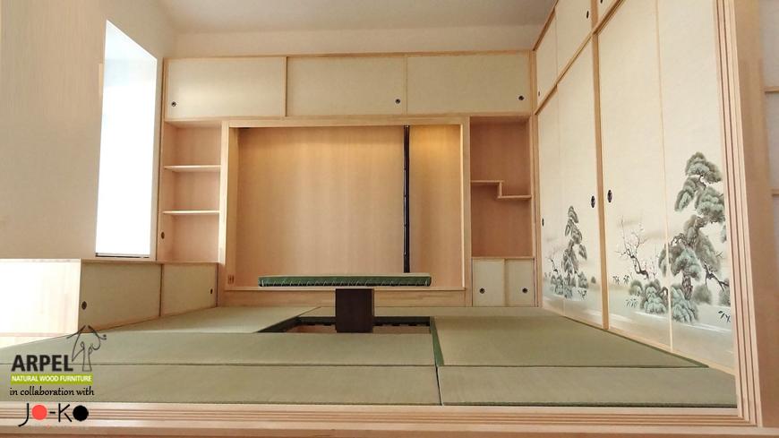 Esempio di arredamento su misura con pareti shoji foto for Pavimento giapponese