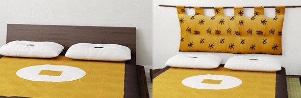 Letto giapponese completo con tatami e futon - Testate letto con cuscini ...