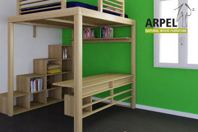 Letto e scala ku be vendita mobili giapponesi arpel arredamenti naturali in legno - Soppalco in legno autoportante ...
