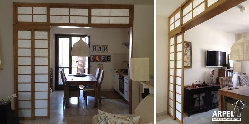 Pareti scorrevoli giapponesi vendita mobili giapponesi arpel arredamenti naturali in legno - Pareti divisorie mobili per abitazioni ...