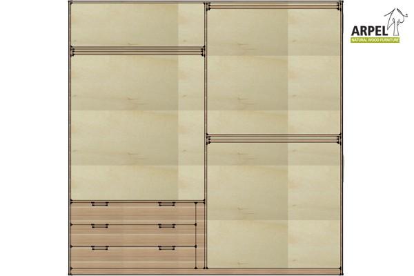 Cassettiera da interno per armadi larghi 200 cm o 210 cm