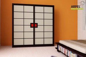 "Shoji Wardrobe 6'7"" with Fabric Sliding Doors"